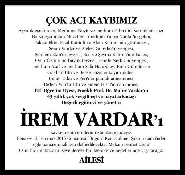Sn. İrem Vardar Sözcü Gazetesi Vefat ilanı