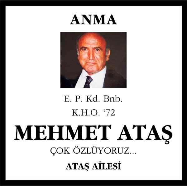 Sn. Mehmet Ataş Sözcü Gazetesi Anma ilanı