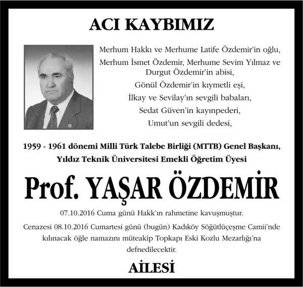 Sn. Yaşar Özdemir Sözcü Gazetesi Vefat ilanı