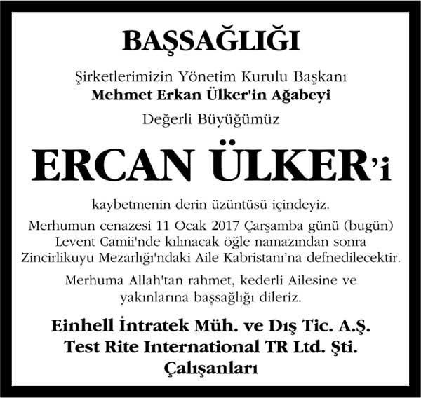 ercan ülker başsağlığı ilanı