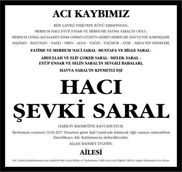 hacı şevki saral hürriyet gazetesi vefat ilanı