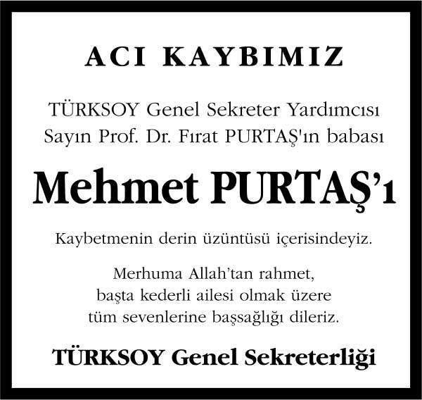 mehmet purtaş hürriyet gazetesi vefat ilanı