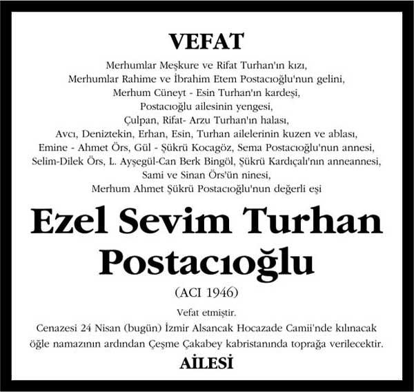 Ezel Sevim Turhan Postacıoğlu Sözcü Gazetesi Vefat ilanı