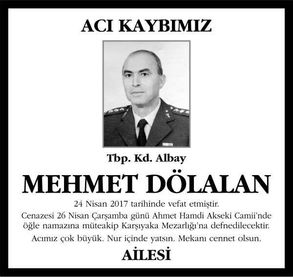 Mehmet Dölalan Sözcü Gazetesi Vefat ilanı