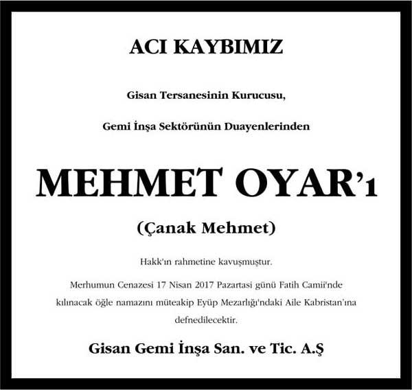 Mehmet Oyar Hürriyet Gazetesi Vefat ilanı