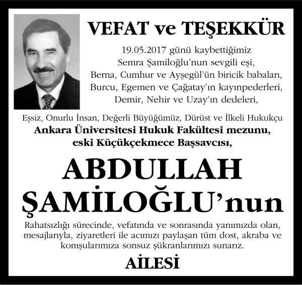 Abdullah Şamiloğlu Sözcü Gazetesi Vefat ilanı