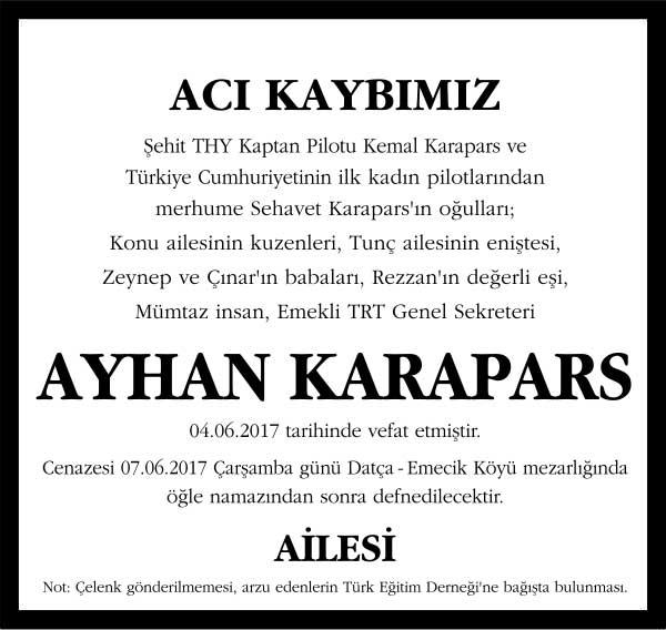 Ayhan Karapars Sözcü Gazetesi Vefat ilanı