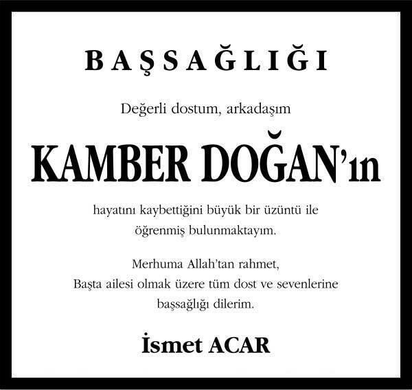 Kamber Doğan Hürriyet Gazetesi Başsağılğı ilanı