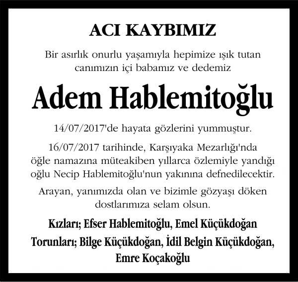 Adem Hablemitoğlu Sözcü Gazetesi Vefat ilanı