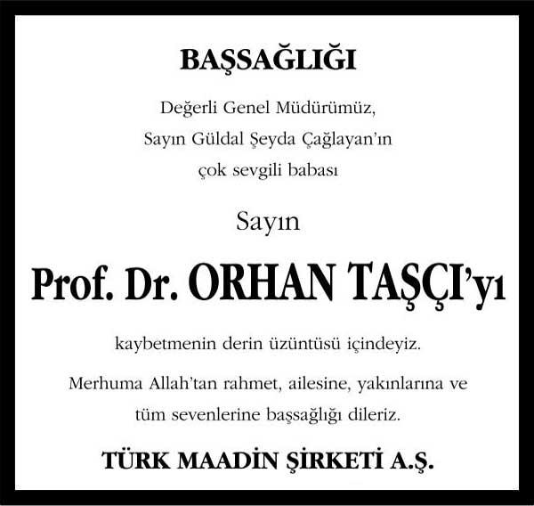Prof. Dr. Orhan Taşçı Hürriyet Gazetesi Vefat ilanı