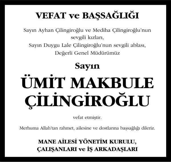 Sözcü Gazetesi Başsağılğı ilanı Ümit Makbule Çilingiroğlu