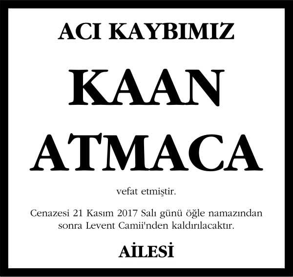 Kaan Atmaca Sözcü Gazetesi Vefat ilanı