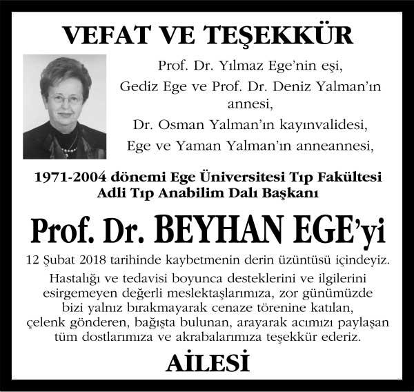 Prof. Dr. Beyhan Ege Sözcü Gazetesi Vefat ilanı
