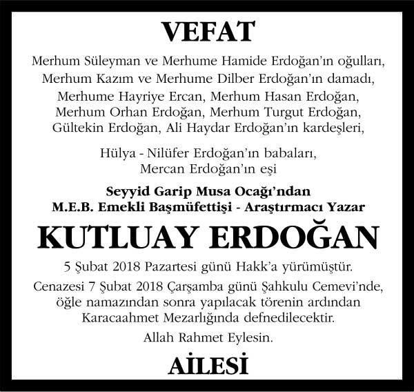 Kutluay Erdoğan Hürriyet Gazetesi Vefat ilanı