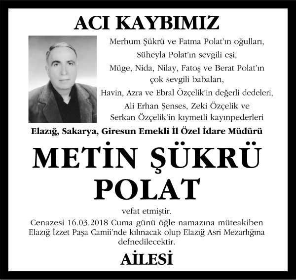 Metin Şükrü Polat Milliyet Gazetesi Vefat ilanı
