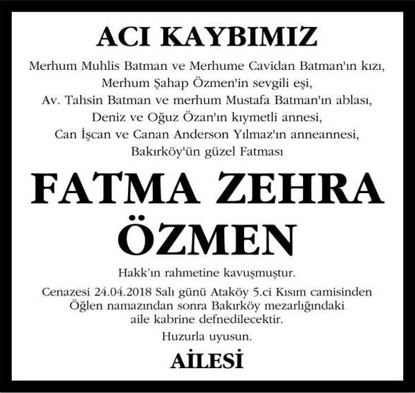 Fatma Zehra Özmen Sözcü Vefat ilanı