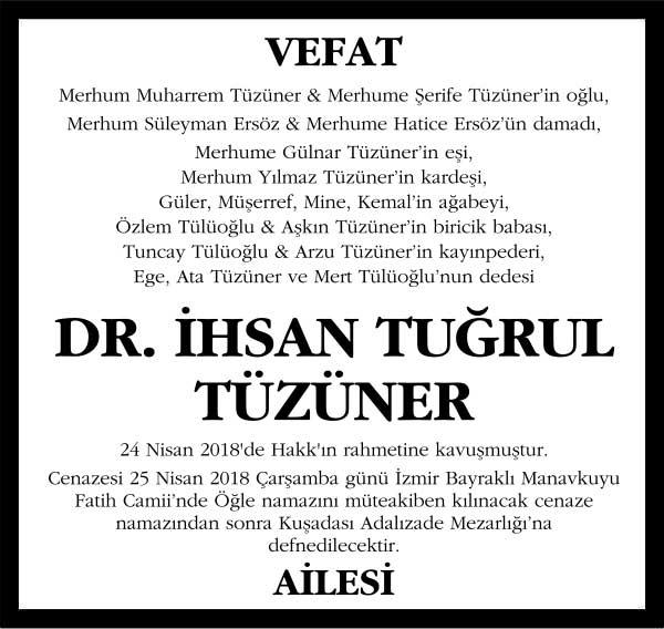 İhsan Tuğrul Tüzüner Sözcü Gazetesi Vefat ilanı