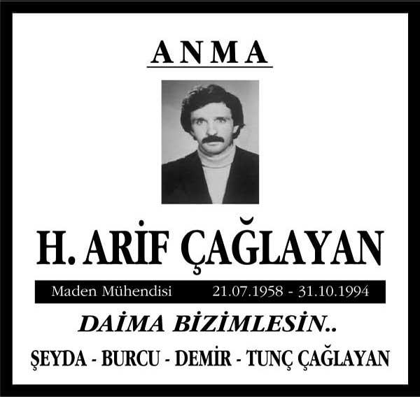 H. Arif Çağlayan Sözcü Gazetesi Anma İlanı