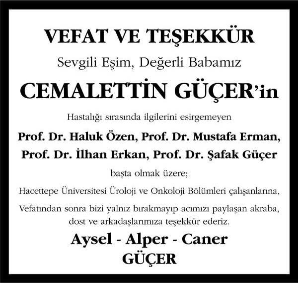 Cemalettin Güçer Sözcü Gazetesi Vefat Teşekkür İlanı