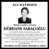 Dürdane Saraçoğlu Vefat ilanı
