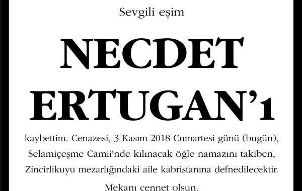 Necdet Ertugan Sözcü Gazetesi Vefat İlanı