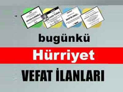 Hürriyet gazetesinde yayınlanan vefat, başsağlığı taziye ilan sayfaları.
