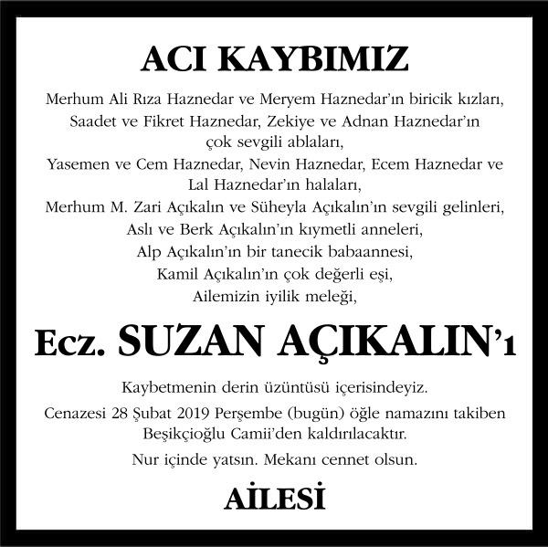 Ecz. Suzan Açıkalın Sözcü Gazetesi Vefat İlanı