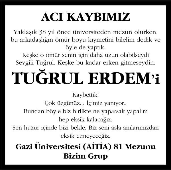 Tuğrul Erdem Sözcü Gazetesi Başsağlığı ilanı