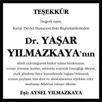 Dr. Yaşar Yılmazkaya Sözcü Gazetesi Vefat İlanı