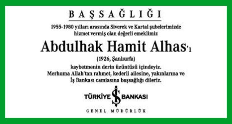Abdulhak Hamit Alhas - Hürriyet Başsağlığı İlanı