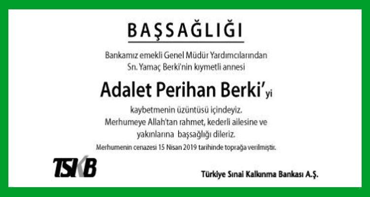 Adalet Perihan Berki - Hürriyet Başsağlığı İlanı
