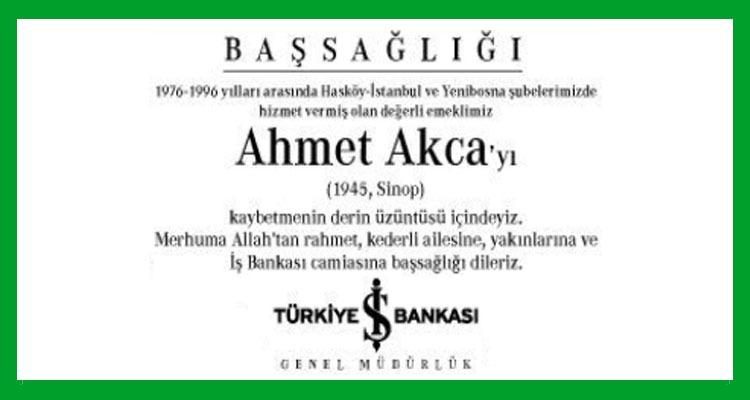 Ahmet Akca - Hürriyet Başsağlığı İlanı