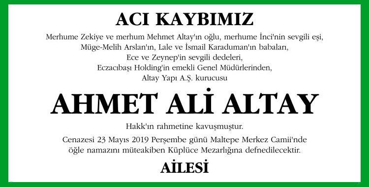 Ahmet Ali Altay - Hürriyet Vefat İlanı