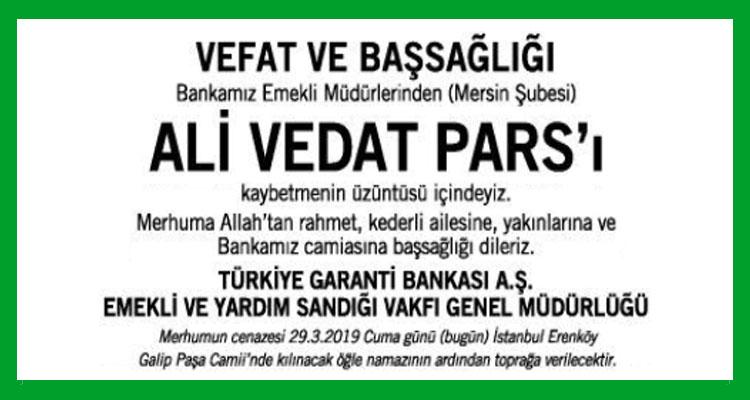 Ali Vedat Pars - Hürriyet Başsağlığı İlanı