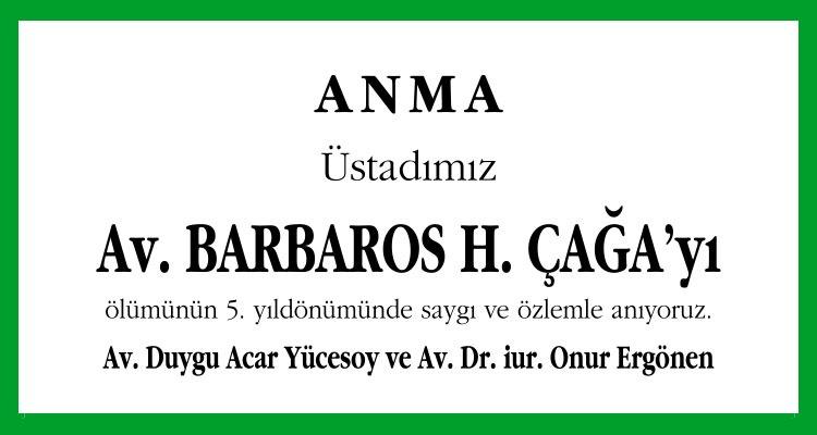 Barbaros H. Çağa - Hürriyet Anma İlanı