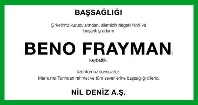 Beno Frayman - Hürriyet Başsağlığı İlanı