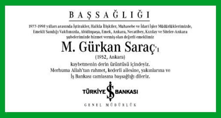 M. Gürkan Saraç - Hürriyet Başsağlığı İlanı