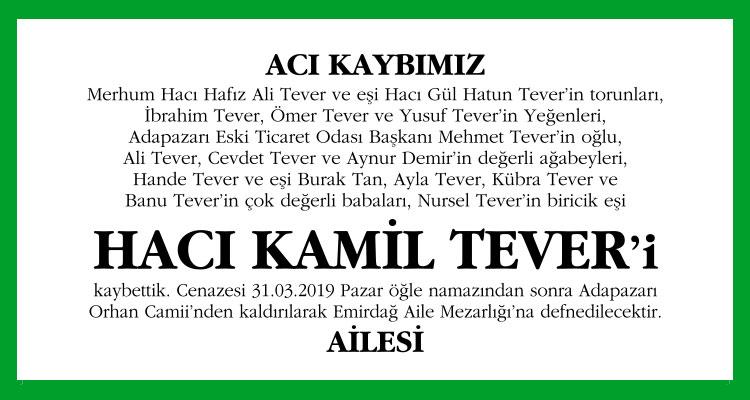Hacı Kamil Tever - Hürriyet Vefat İlanı