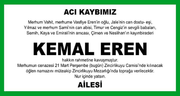 Kemal Eren - Hürriyet Vefat İlanı