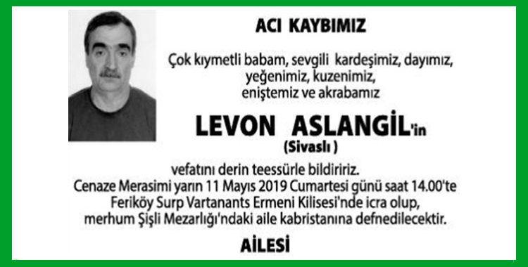 Levon Aslangil - Hürriyet Vefat İlanı