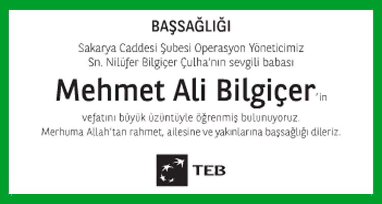 Mehmet Ali Bilgiçer - Hürriyet Başsağlığı İlanı