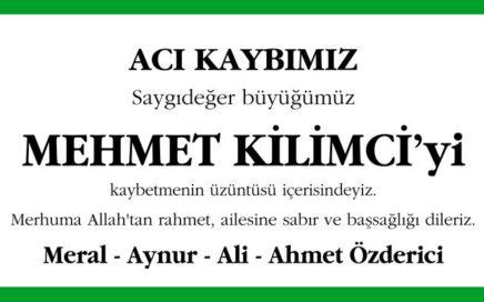 Mehmet Kilimci - Hürriyet Başsağlığı İlanı
