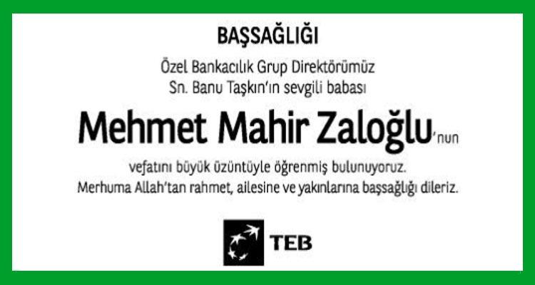 Mehmet Mahir Zaloğlu - Hürriyet Başsağlığı İlanı