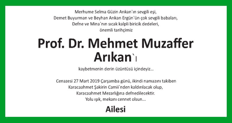 Mehmet Muzaffer Arıkan - Hürriyet Vefat İlanı