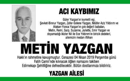 Metin Yazgan - Hürriyet Vefat İlanı