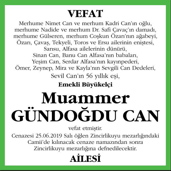 Muammer Gündoğdu Can Sözcü Gazetesi Vefat İlanı