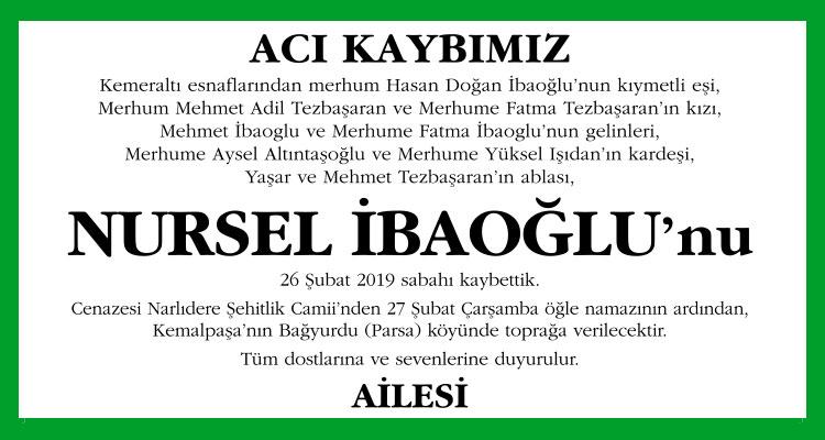 Nursel İbaoğlu - Cumhuriyet Vefat İlanı