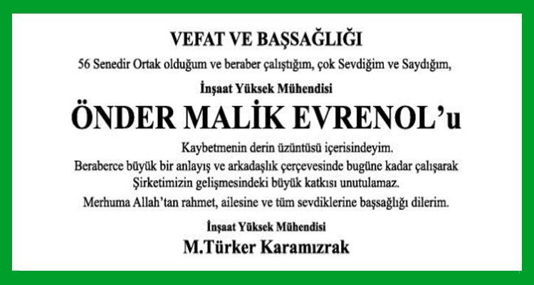 Önder Malik Evrenol - Hürriyet Başsağlığı İlanı