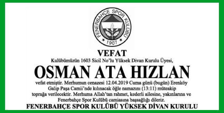 Osman Ata Hızlan - Hürriyet Başsağlığı İlanı