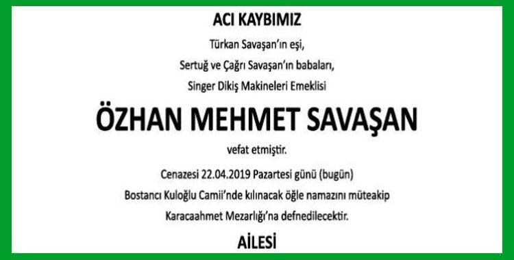 Özhan Mehmet Savaşan - Hürriyet Vefat İlanı